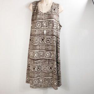 J Jill dress size 2x tribal print brown and cream